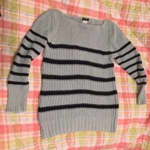 I crew teal navy striped sweater